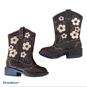 Sonoma Brown Toddler Cowgirl Boots Flowers Sz 5